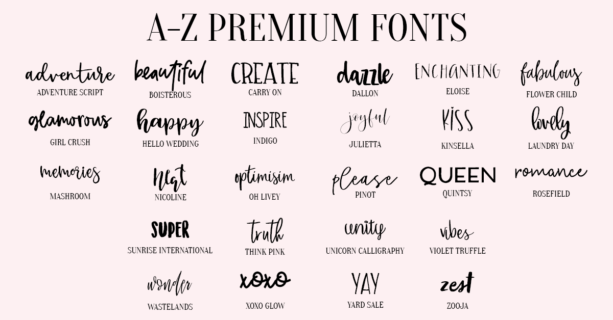 A Z Premium Fonts For Crafters Amp Graphic Designers Nap